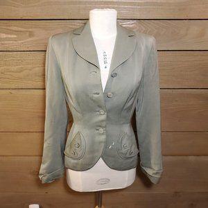 Jackets & Blazers - Green Vintage Blazer - Form-fitting, wool